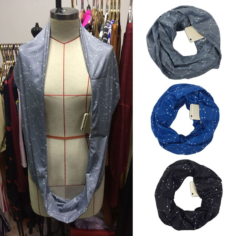 Womens Womens Double Layer Hidden Zipper Pocket Infinity Loop Scarf Constellation Sign Line Letters Solid Color Winter Ring Wrap