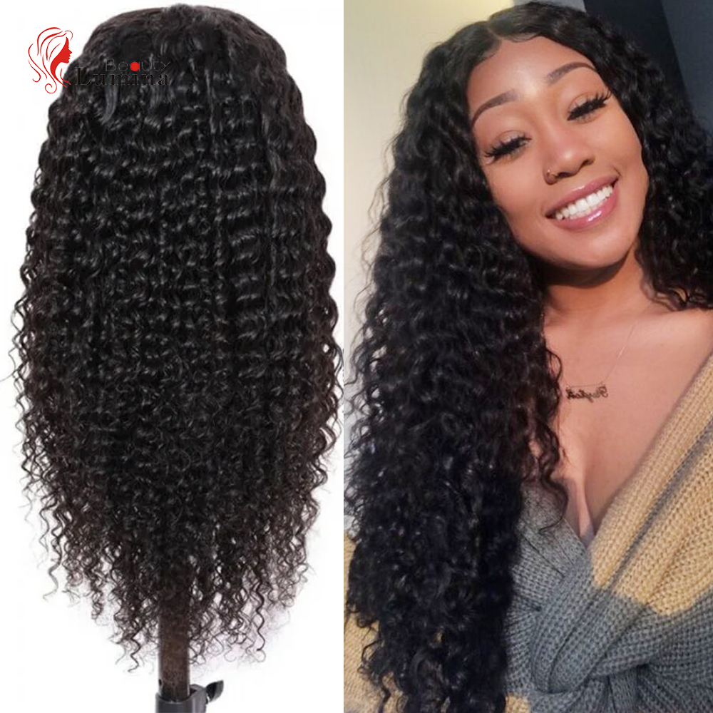 13X4 Lace Front Curly Human Hair Wig Deep Wave 180% Density Brazilian Remy Wavy Human Hair Pre-Plucked Hairline Beauty Lumina