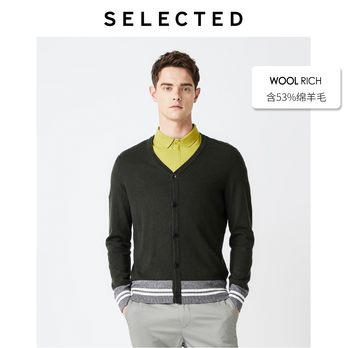 SELECTED Men's Autumn Woolen Striped Assorted Colors Knit Cardigan S|419324520