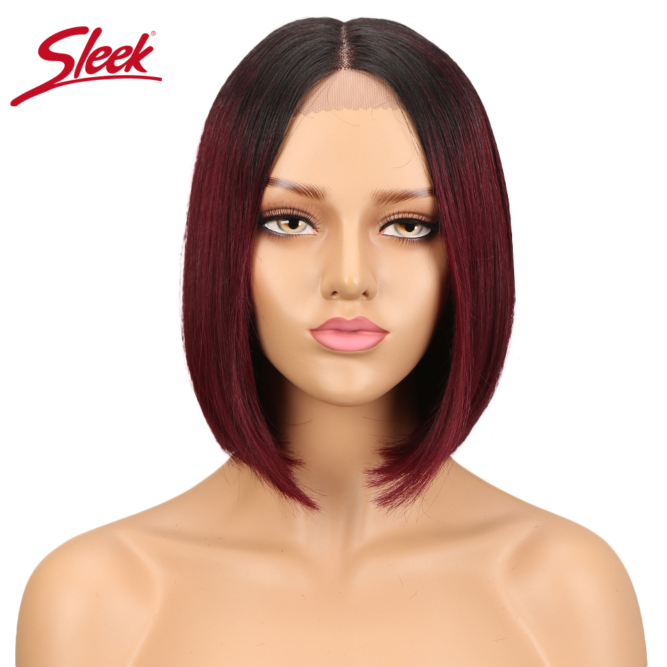 Sleek Lace Front Human Hair Wigs Peruvian Straight Natural Human Hair Ombre Color 27#/30#/99J BOB Remy Hair Wigs парики женские