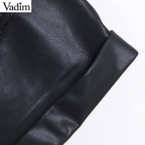 Image 5 - Vadim women pu leather black shorts zipper fly elastic waist pockets female casual shorts bow tie sashes pantalones cortos SA190