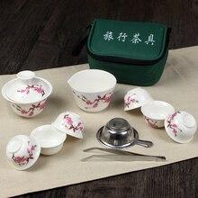 11 шт. чайный набор для путешествия китайский портативный керамический костяной фарфор Gaiwan чайная чашка из фарфора чайная чашка кунг-фу дорожный чайный набор сумка