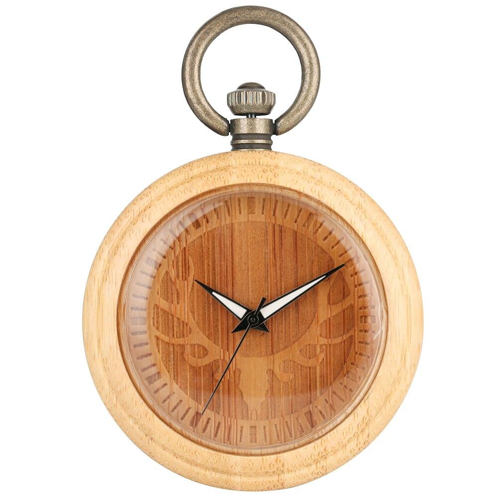 Exquisite Elk Head Bamboo Pocket Watch Female Unique Engraved Dial Necklace Chain Clock Men Gift Pendant Watches Zakhorlor