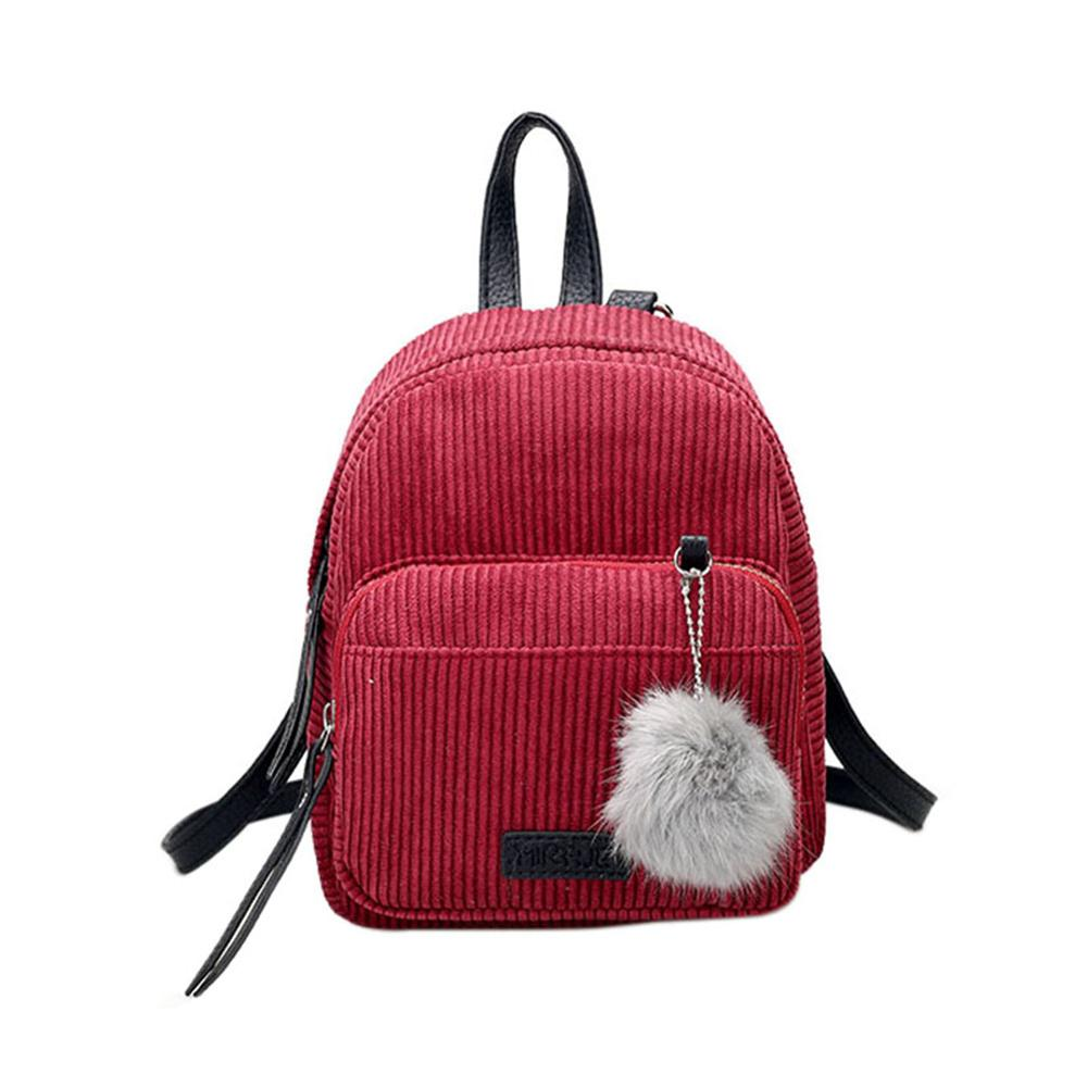Girl Mini Backpack Women Pompom Ball Solid Color Corduroy Small Backpack Autumn Winter Teenage Travel School Bag Mochila