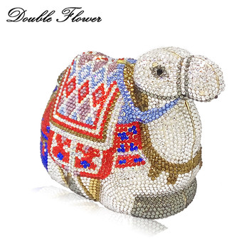 Double Flower Dazzling Luxury Handbags Women Crystal Camel Clutch Animals Evening Bags Hardcase Metal Party Minaudiere Purse
