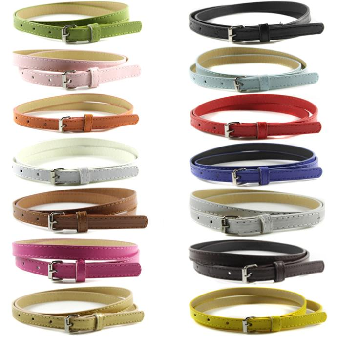 Women Faux Leather Belts Thin Skinny Waistband Adjustable Belt Candy Color