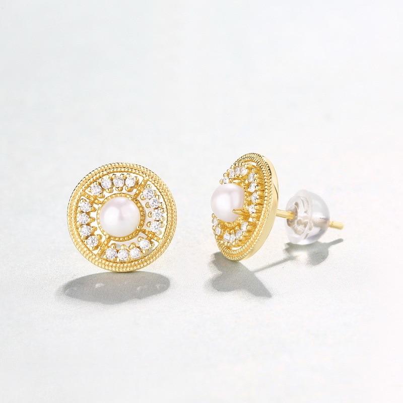Niche luxe bijoux design boucles d'oreilles femme naturel perle d'eau douce boucles d'oreilles argent palais reconstituant des manières anciennes