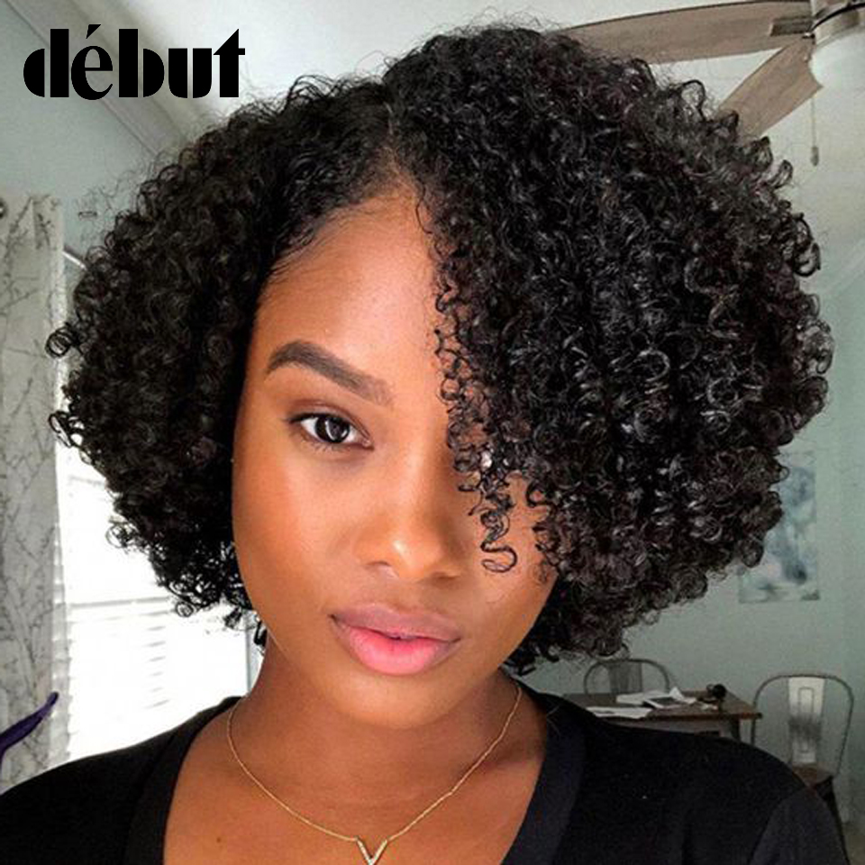 Part Lace Front Short Bob Wig Afro Kinky Curly Human Hair Wigs Pre Plucked Bleached Knots Remy Debut Human Hair Lace Front Wig
