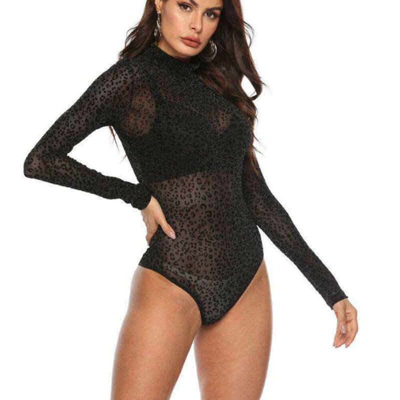 Vrouwen Lange Mouw Luipaard Print Sexy See Through Mesh Bodysuit Top Blouse T-shirt Jumpsuit