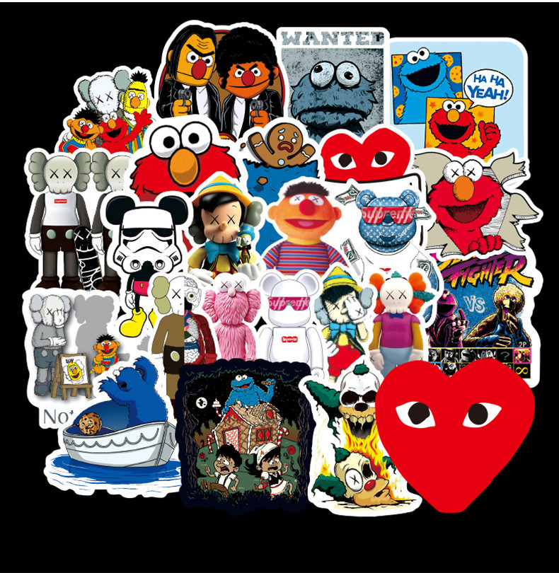 70PCS Popular Logo X X Co-KAWS Branded Stickers Suitcase Graffiti Sticker Trolley Car Sticker