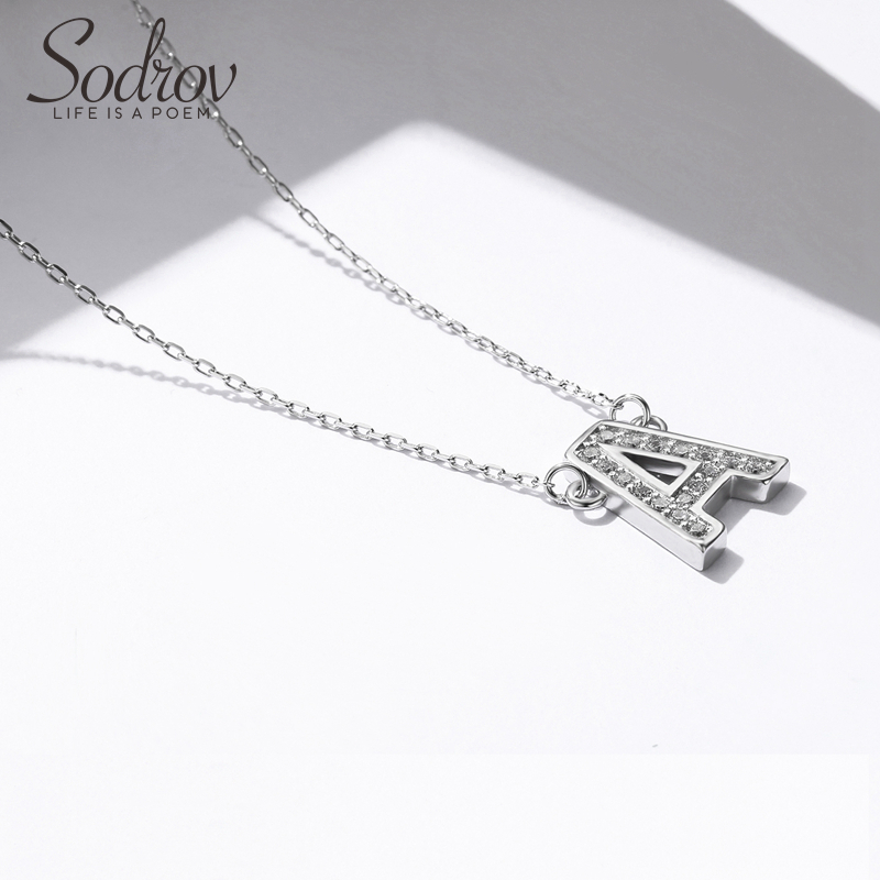 Sodrov Necklace 925 Sterling Silver Pendant Link Chain Women Letter Fine Jewelry A L S M N