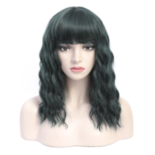 COSYCODE 14 inches Green Wig with Bangs Short Wavy Wig Natural Wave Women Wig  Synthetic Halloween Party Wig