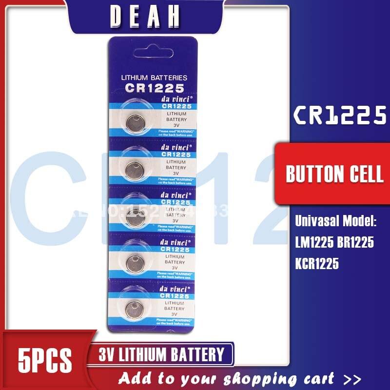 Литиевая батарея CR1225 3 в, 5 шт., батарейка для монет, CR 1225 LM1225 BR1225 KCR1225, кнопочные батарейки для часов, флэш-игрушек, пульт дистанционного управл...
