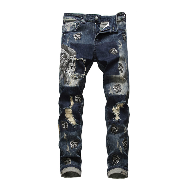 Sokotoo Men's Tribe Chief Embroidery Ripped Jeans Holes Distressed Blue Stretch Denim Pants