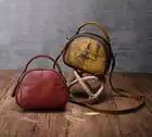 Borsa Delle Donne Del Cuoio Genuino Nuovo Selvaggio Messenger Bag Multi Vano Del Sacchetto di Spalla Femminile Fatti a Mano Shell Piccola Rotonda Borse - 2