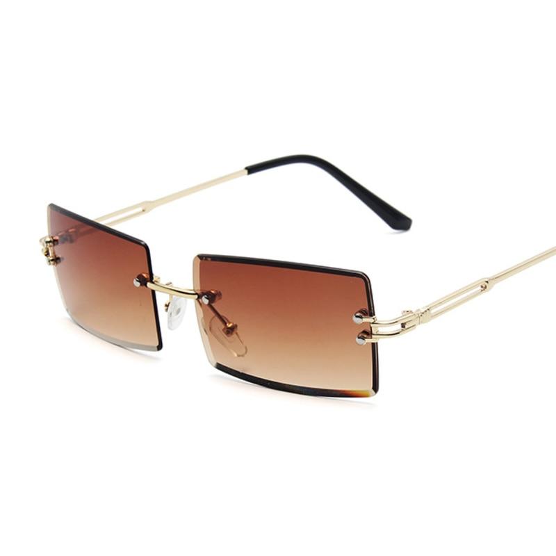 Vintage Braun Quadrat Sonnenbrille Frauen Luxus Marke Kleine Rechteck Sonnenbrille Weibliche Gradienten Spiegel Randlose Oculos De Sol