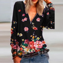 Women T-shirts Sweatshirts Spring Vintage Long Sleeve Shirt Woman Floral Print V Neck Pullover Ladies Casual Shirts Female Tops