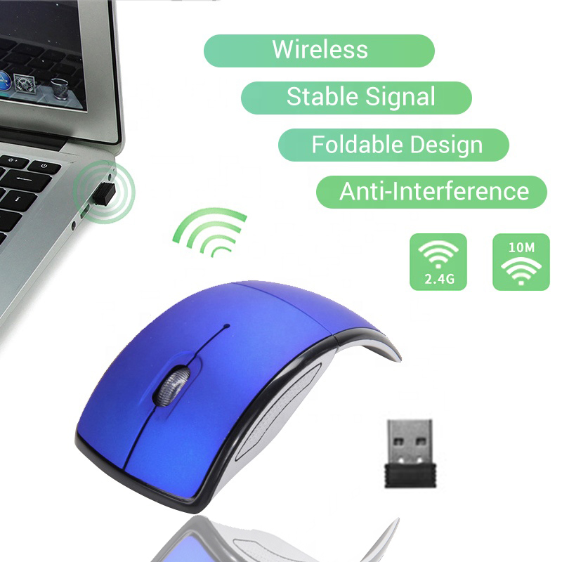 7 Colors Wireless Mouse 2.4G Computer Mouse Foldable Folding Optical Mice USB Receiver For Laptop PC Computer Desktop Office