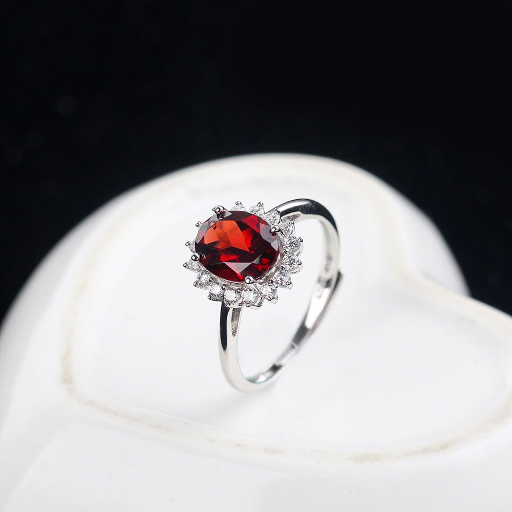 Bague princesse Diana bijoux solide 925 bague en argent grenat naturel 7x9mm bijoux fins fiançailles bagues de mariage pour les femmes