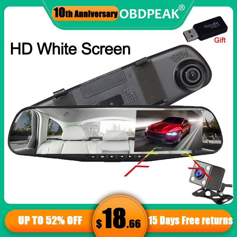 Car Camera Dual Lens Auto DVR Rearview Mirror Dash Cam Cars DVRs Recorder Video Registrator FHD 1080P White Mirror Camcorder