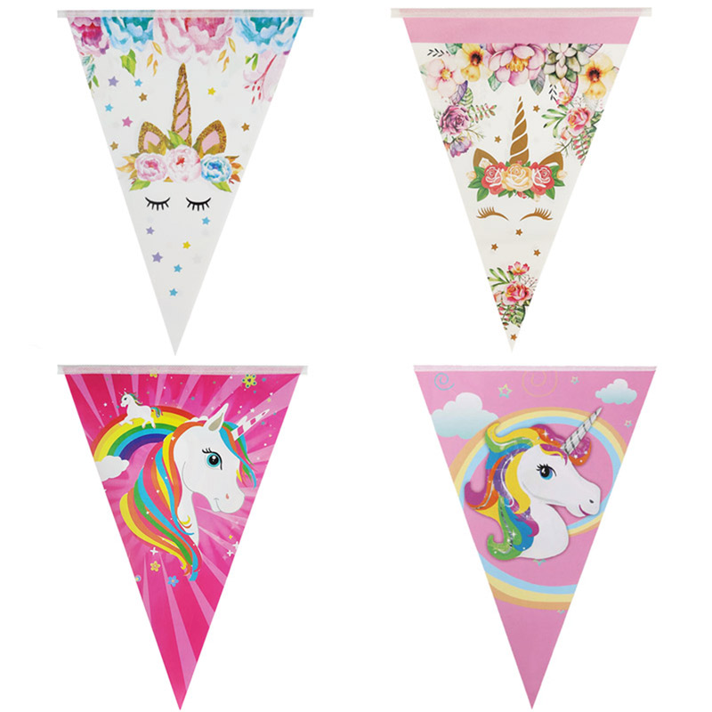 Image 2 - 1set Rainbow Unicorn Banners Unicorn Party Hanging Flags Kids Birthday Party Decorations Bunting Garland Baby Shower Supplies-in Banners, Streamers & Confetti from Home & Garden