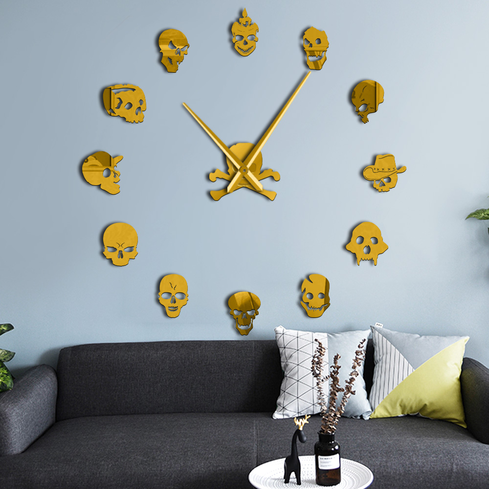 Various Skull Heads Decorative DIY Sticker Large Wall Clock Dead Skeleton Cranium Modern Novelty Gift Custom DIY Big Wall Clock