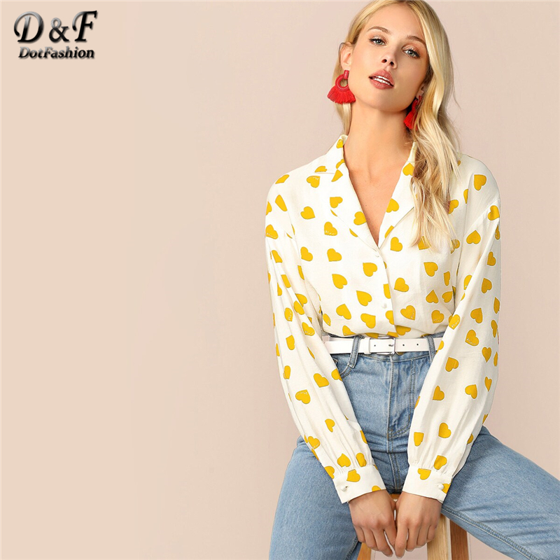 Dotfashion Casual Yellow Heart Print Blouse Shirt Women 2019 Autumn Button Up V Neck Blouses Ladies Trim Sweet Top