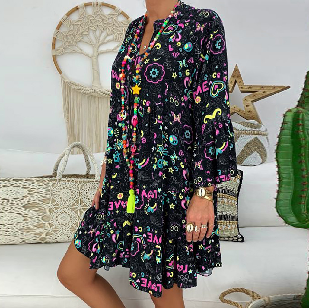 H99b3abd96e9d4c9fbf1e650169ce2565c Spring Autumn Women Dress Plus Size 5XL Loose Print Long Sleeve V-Collar Button Party Dresses Casual Loose Women Dresses 2019