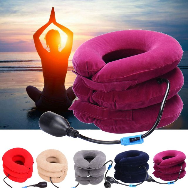 PVC Inflatable Neck Tractor Travel Portable Soft Cervical Vertebra Traction Neck Relief Posture Correction Stretching Brace