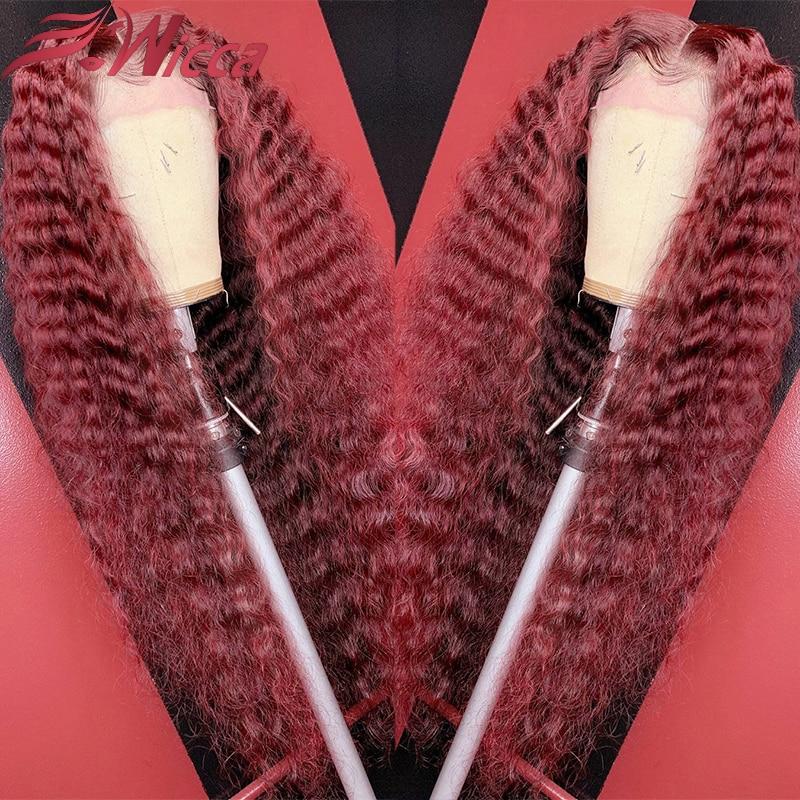 Бордовый Красный 13X6 кружевной передний парик из человеческих волос для женщин 180% Плотность бордовый Омбре бразильский кудрявый кружевной ...