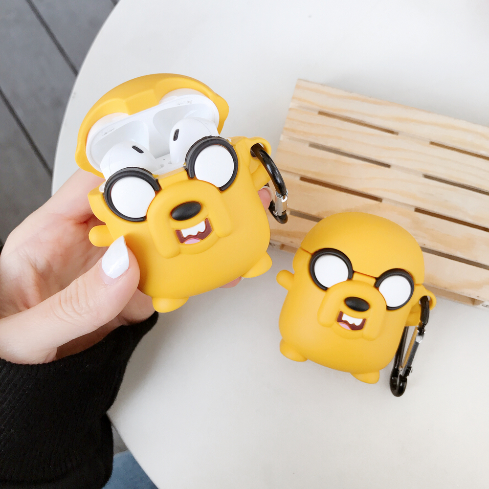 Cartoon Adventure Time Cute Jake The Dog Earphone Silicone Case For AirPods 1 2 Bluetooth Headset Protective Cover With Hook