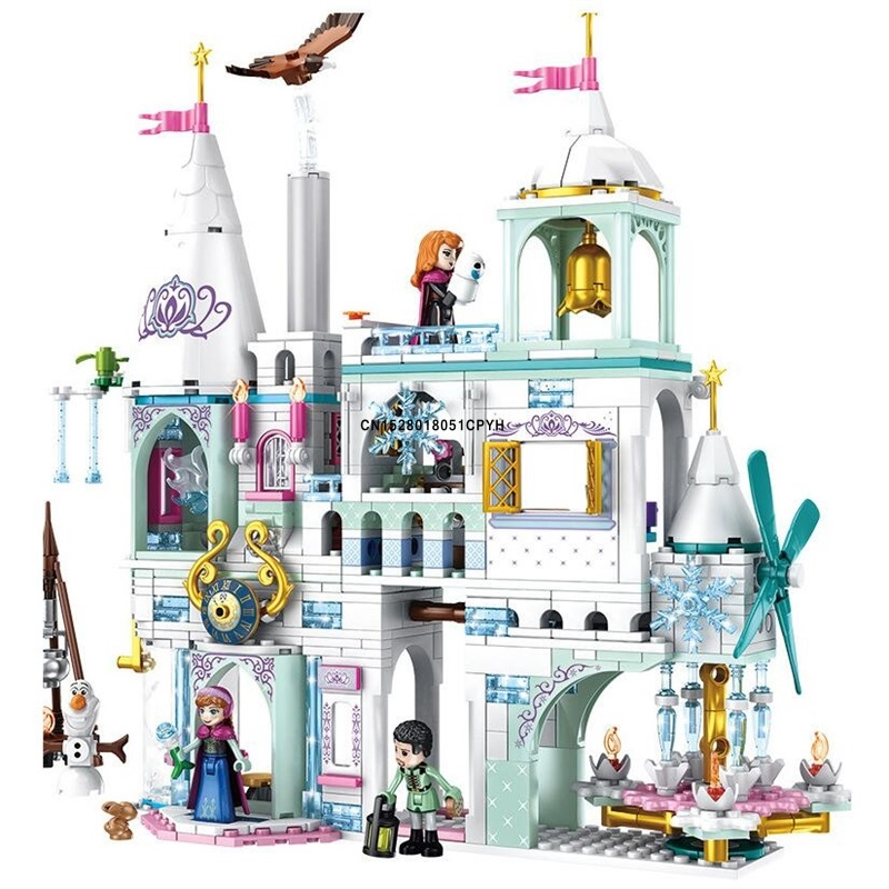 Princess Snow Queen Ice Castle Anna Figures Arendelle Building Blocks Compatible City Friends Gifts Bricks Toys For Girls image