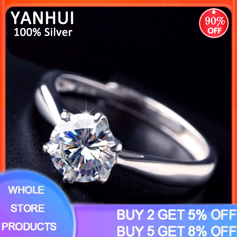 With Certificate Natural 1 Carat Zirconia Gemstone Ring With 18K RGP Mark White Gold Pt Wedding Band Engagement Rings For Women