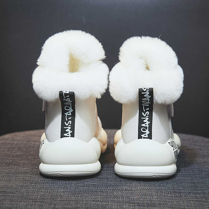 Frauen Winter Stiefel Mode Leder Wasserdicht Schnee Stiefel Pelz Warme Keil Stiefeletten für Frauen Beiläufige Turnschuhe Schuhe Botas Mujer