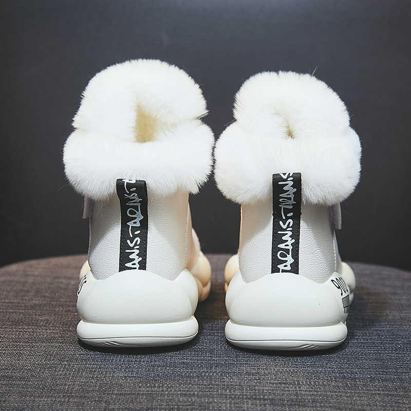 Vrouwen Winter Laarzen Mode Lederen Waterdichte Snowboots Bont Warm Wig Enkellaarsjes Voor Vrouwen Casual Sneakers Schoenen Botas Mujer