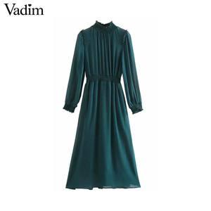 Image 1 - Vadim 女性シックなシフォングリーンミディドレス長袖弾性ウエスト女性のスタイリッシュなシックなソリッドドレス vestidos QD138