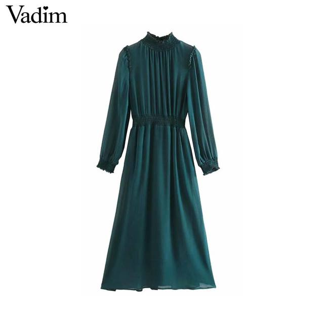 Vadim 女性シックなシフォングリーンミディドレス長袖弾性ウエスト女性のスタイリッシュなシックなソリッドドレス vestidos QD138