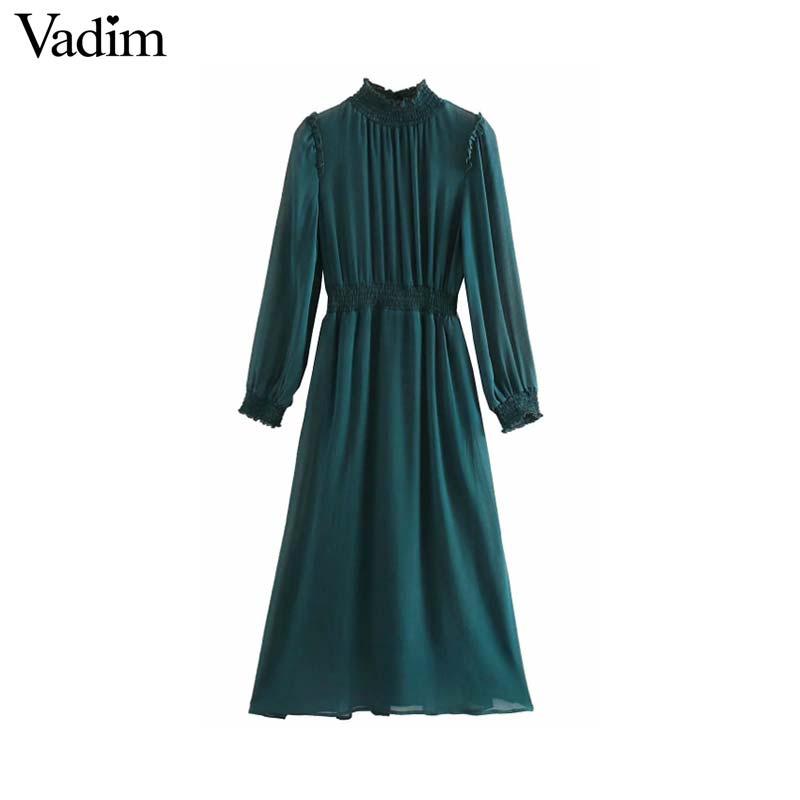 Vadim women chic chiffon green midi dress long sleeve elastic waist see through female stylish chic solid dresses vestidos QD138Dresses   -