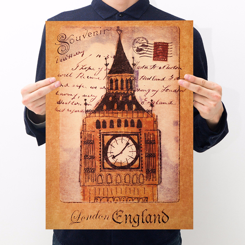 Room decoration architecture big ben poster kraft paper retro poster bar cafe decoration painting wall sticker