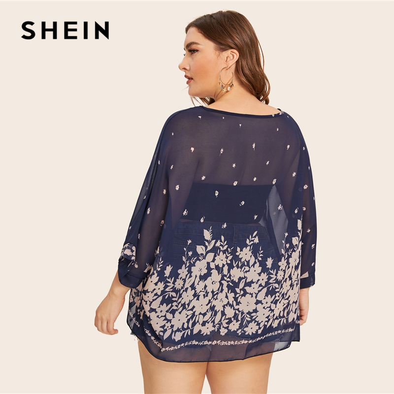 SHEIN Plus Size Navy Floral Print Batwing Sleeve Sheer Blouse Top Women Summer 3/4 Length Sleeve Round Neck Casual Plus Blouses 2