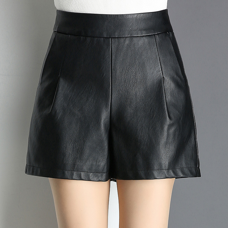 Autumn Winter Women Loose Casual Black PU Leather Shorts Streetwear Punk Gothic High Waist Wide Leg Plus Size Leather Shorts