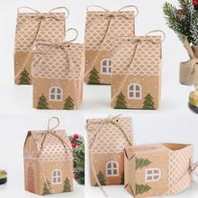 QIFU 1pcs Merry Christmas Paper Bag Candy Box Kraft Bags Gift Holders Present Cookies Xmas