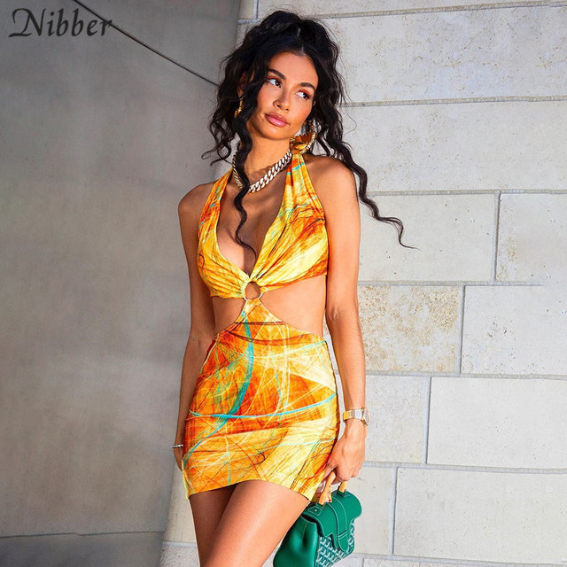 Nibber Club Wild Contrast Hollow Out Woman Dresses Summer Sexy Bodycon Patchwork Streetwear Casual Low-cut Halter Beach Dress