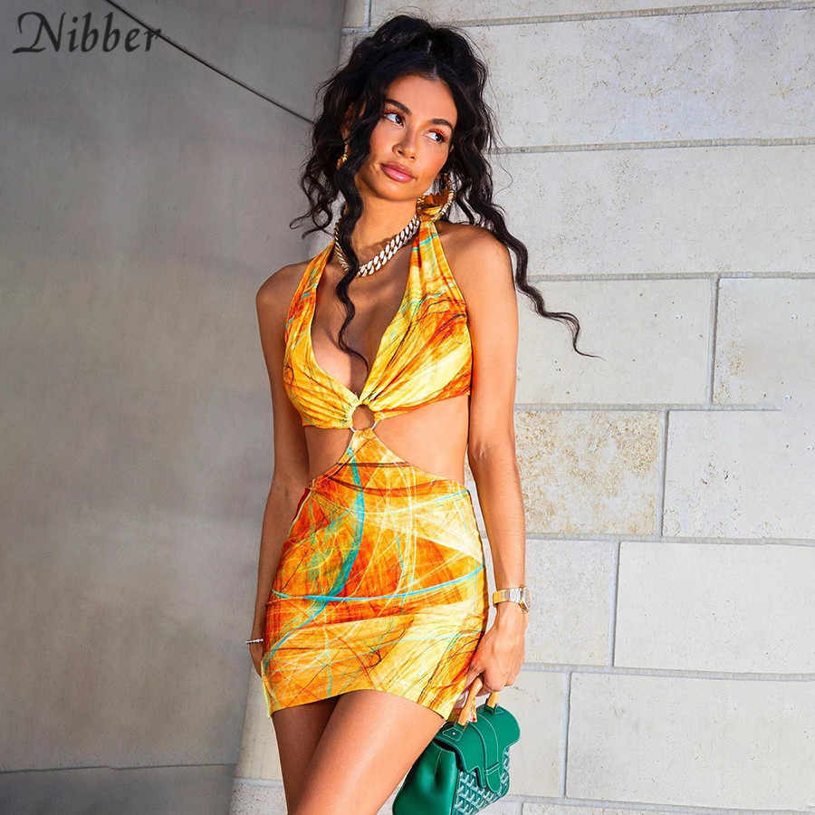 Nibber Club Wilde Contrast Hollow Out Vrouw Jurken Zomer Sexy Bodycon Patchwork Street Wear Casual Low-Cut Halter Strand jurk