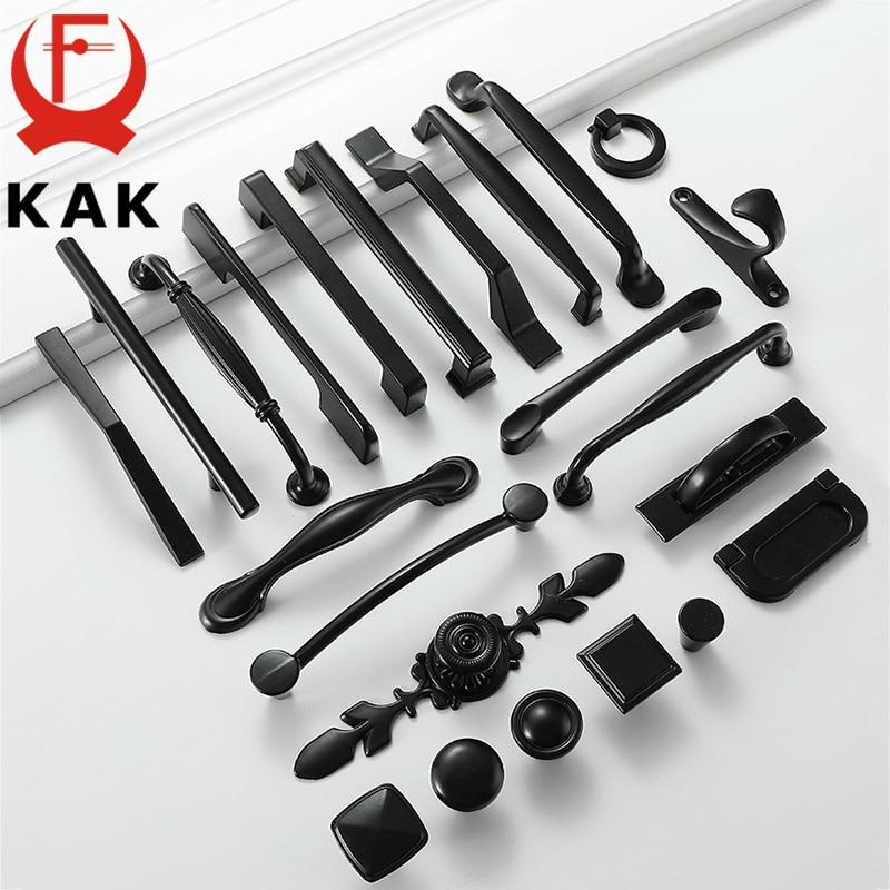KAK Black Cabinet Knobs And Handles Solid Aluminum Alloy Kitchen Handle Cupboard Pulls Drawer Knobs Furniture Handle Hardware