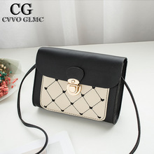 Cvvo Glmc New Women's Diamond Check Color Shoulder Lock Square Bag Autumn andWinter Embroidered Messenger Bag Retro Shoulder Bag