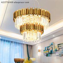 Sala de estar de Luxo Ouro Aço K9 Cristal Levou Pingente Lâmpada Pendurada Lustre Luminaria Lamparas Iluminação Interior Luminária