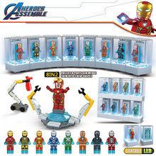 Avengers Superheroes Iron Man Armor Showroom Builiding Blocks Compatible Legoinglys Marvel Super Heroes Figures Bricks Kids Toys(China)