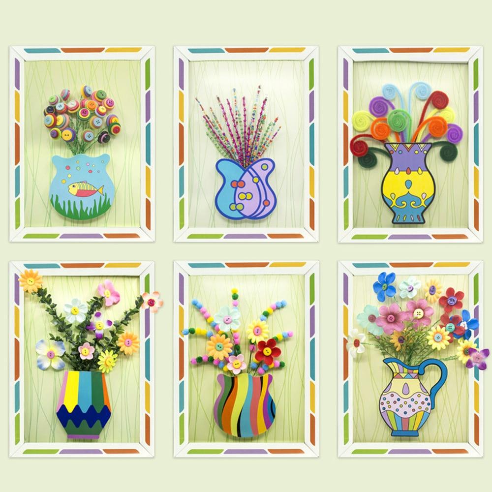 Kids DIY Handmade Buttons Flower Craft Button Bouquet Kindergarten Manual Course Class Button Flower Handcraft Toys For Children