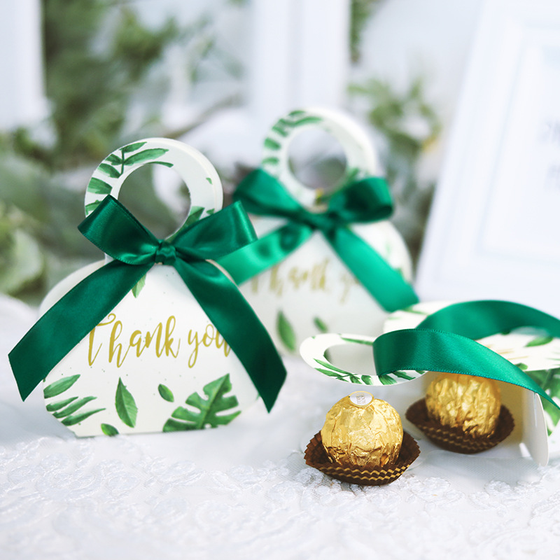 Green Forest Style Gift Box Thank You Candy Box Event Party Wedding Favors Return Baby Shower Birthday Gift Box Birthday Easter